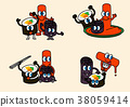 cartoon illustration, set of snack food theme 001 38059414