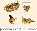 cartoon illustration, set of snack food theme 004 38059422