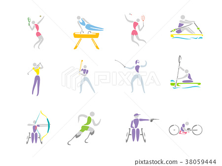 Simple linear pictogram, Olympic concept set 004 38059444