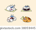 cartoon illustration, set of snack food theme 003 38059445