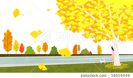 Vector of autumn landscape, colorful background 001 38059449