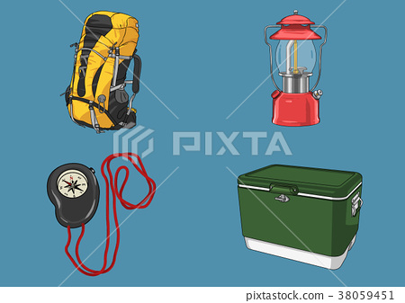 Vector illustration- various retro concept object. vintage illustration, instrument, tea, climbing equipment and so on 007 38059451