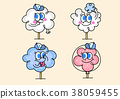 cartoon illustration, set of snack food theme 005 38059455