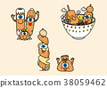 cartoon illustration, set of snack food theme 009 38059462