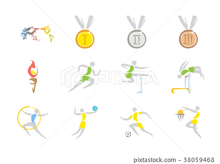 Simple linear pictogram, Olympic concept set 001 38059468
