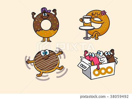 cartoon illustration, set of snack food theme 019 38059492