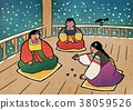 Vector illustration-  children play traditional Korean games. vintage concept illustration. 007 38059526