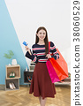 Everyday life of beautiful young woman, shopping, working concept photo in studio shot white background. 345 38060529