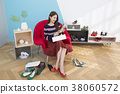 Everyday life of beautiful young woman, shopping, working concept photo in studio shot white background. 359 38060572