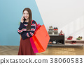 Everyday life of beautiful young woman, shopping, working concept photo in studio shot white background. 339 38060583