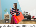 Everyday life of beautiful young woman, shopping, working concept photo in studio shot white background. 340 38060624