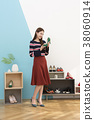 Everyday life of beautiful young woman, shopping, working concept photo in studio shot white background. 321 38060914