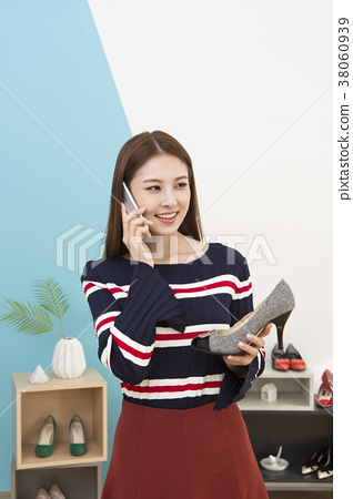 Everyday life of beautiful young woman, shopping, working concept photo in studio shot white background. 325 38060939