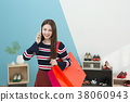 Everyday life of beautiful young woman, shopping, working concept photo in studio shot white background. 337 38060943