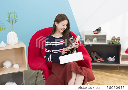 Everyday life of beautiful young woman, shopping, working concept photo in studio shot white background. 357 38060953