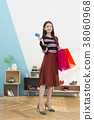 Everyday life of beautiful young woman, shopping, working concept photo in studio shot white background. 348 38060968