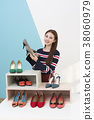 Everyday life of beautiful young woman, shopping, working concept photo in studio shot white background. 355 38060979