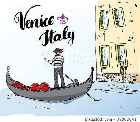 Venice Italy Sketch Doodle Gondolier Vector  38062041