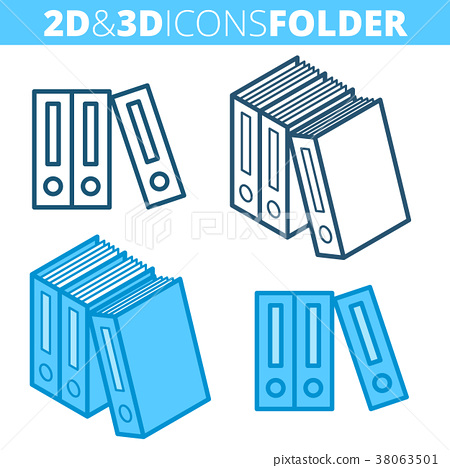 The archive folders. Flat and 3d outline icon set. 38063501
