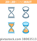 icon, hourglass, 3d 38063513