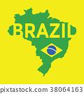 Flat simple Brazil map. 38064163