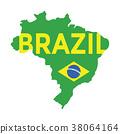 Flat simple Brazil map. 38064164