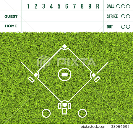 Baseball court on green grass, game score display 38064692