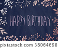 Birthday greeting card with flowers border 38064698
