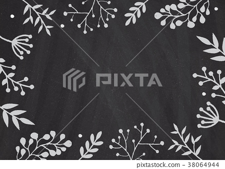 Classroom blackboard background with floral border 38064944