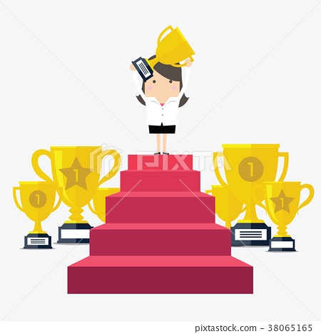 Success businesswoman holding up a trophy. 38065165