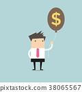 Businessman holding money dollar sign balloon. 38065567