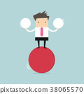 Businessman balancing on red ball holding two ball 38065570