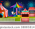 Amusement park scene with circus tent and firework 38065814