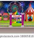Amusement park scene with circus tent and firework 38065816