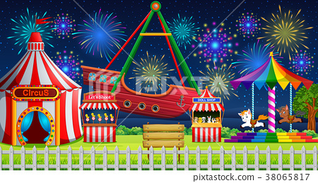 Amusement park scene with circus tent and firework 38065817