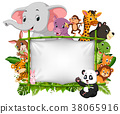 wild animal standing on a bamboo frame 38065916