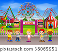 Childrens having fun in amusement park at daytime 38065951
