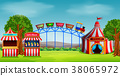 Amusement park scene at daytime with many rides 38065972