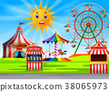 Amusement park scene at daytime with cute sun 38065973
