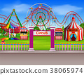 Amusement park scene at daytime with many rides 38065974