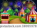 Amusement park scene with circus tent and firework 38065978