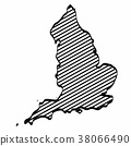 England map outline graphic freehand drawing  38066490
