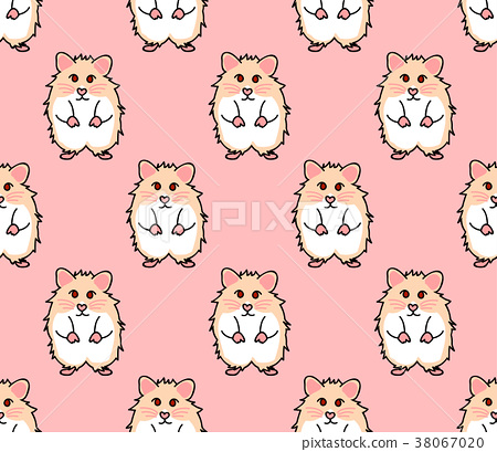Cute Red Eyes Hamster on Pink Background 38067020