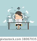 Busy time of businesswoman in hard working. 38067035