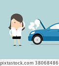 Businesswoman have a force majeure, car broke down 38068486