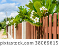 wood and metal fence of residential house 38069615