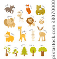 Cute animal vector set. Forest and african animals 38070000