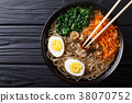 Asian Soba soup with vegetables, mushrooms, egg 38070752