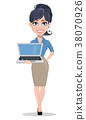 Business woman holding modern laptop. 38070926