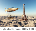 Fantasy airship and Eiffel Tower over the clouds 38071103